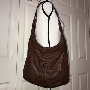 Brown leather guess purse
